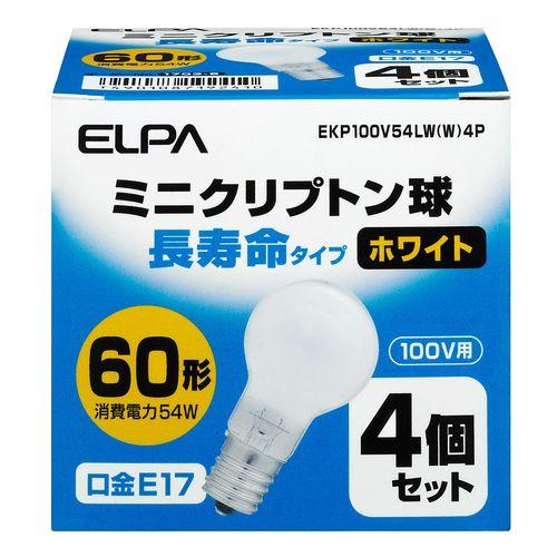 ELPA まとめ買い 長寿命ミニクリ54W4P EKP100V54LW W 4P