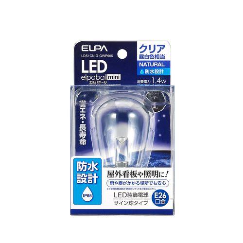 ELPA 防水LED電球/LDS1CN-G-GWP905 クリア昼白色相当 サイン球タイプ