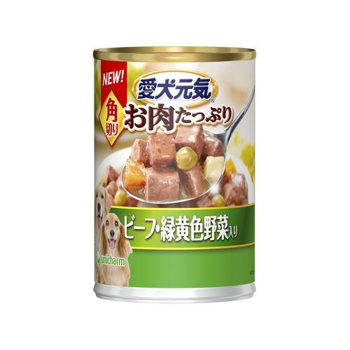 愛犬元気 缶 角切り ビーフ&緑黄色野菜入り 375g