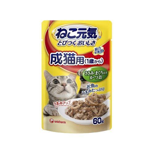ねこ元気 総合栄養食 パウチ 成猫用(1歳から) ささみ・まぐろ入りかつお 60g