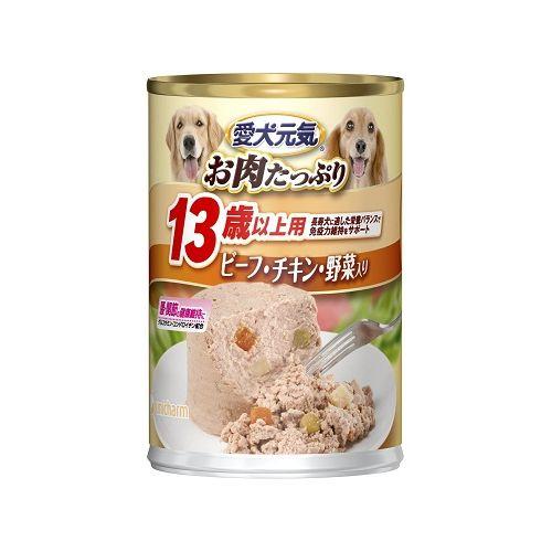 愛犬元気 缶 13歳以上用 ビーフ・チキン・野菜入り 375g