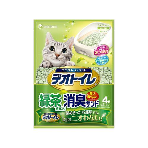 ペットケア 1週間消臭・抗菌デオトイレ 飛散らない緑茶成分入り・消臭サンド 4L