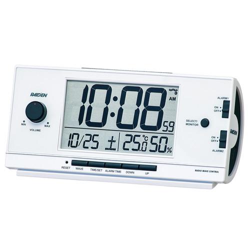 【クリックでお店のこの商品のページへ】RAIDEN大音量 デジタル電波目覚まし時計 NR534W