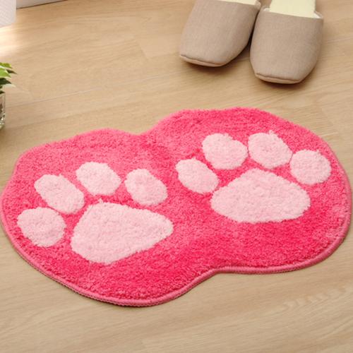 イケヒコ かわいいアクセントマット 『足型マット ネコ』 ピンク 約35×50cm 裏面滑りにくい加工 1枚