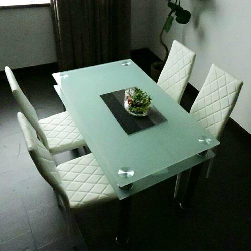 モビレックス ガラスダイニングテーブルセット4人用ホワイト