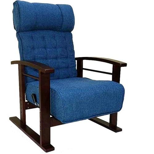 モビレックス ヘッドレスト付きリクライニング座椅子ブルー色
