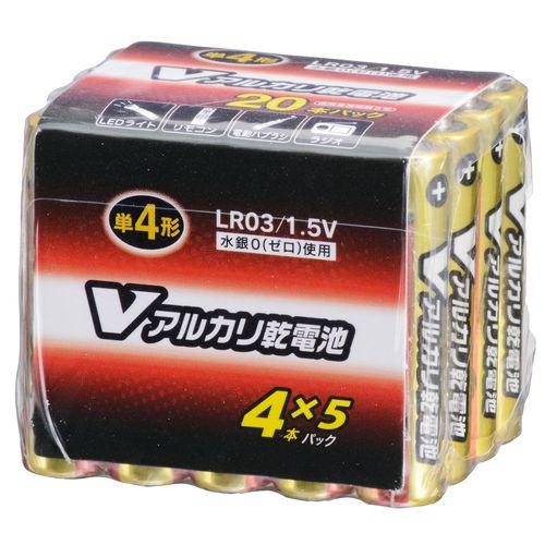 OHM Vアルカリ電池単4形 20本パック LR03/S20P/V