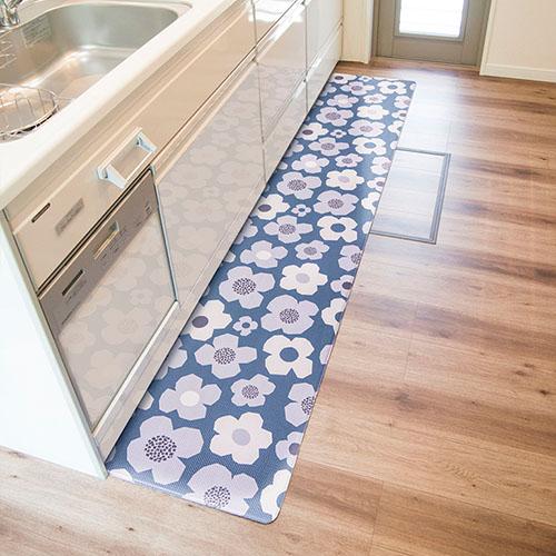 キッチンマット 45×240 フラワー 拭ける北欧風マット キッチンマット ...