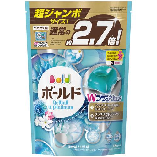 P&G ボールド ジェルボール Wプラチナ プラチナホワイトリーフの香り 詰め替え 超特大 1ケース 48個×6 洗濯洗剤