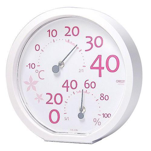 クレセル 温湿度計 ピンク CR170P